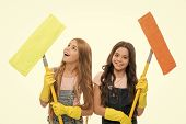 Overall Cleaning. Cheerful Small Cleaning Ladies. Cute Girls Holding Mops For Cleaning Floor. Little poster