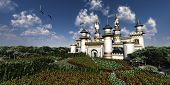 image of fairy-tale  - Two Bald Eagles fly over magnificent castle surrounded by gardens - JPG