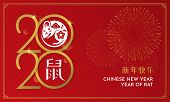 Happy Chinese New Year 2020 Gold Typography Poster Design With Mouse Vector Illustration And Firewor poster