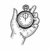 Stopwatch In Hand Sketch Engraving Vector Illustration. T-shirt Apparel Print Design. Scratch Board  poster