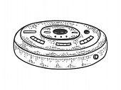 Robotic Vacuum Cleaner Sketch Engraving Vector Illustration. T-shirt Apparel Print Design. Scratch B poster