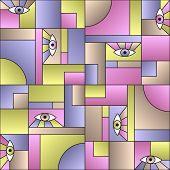 Modular Pattern With Eyes In Geometric Shapes Grid Scandinavian Fashion Retro Textile Print. Modern  poster