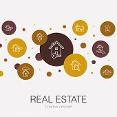 Real Estate Trendy Circle Template With Simple Icons. Contains Such Elements As Property, Realtor, L poster