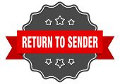 Return To Sender Red Label. Return To Sender Isolated Seal. Return To Sender poster
