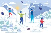 Vector Illustration Family Winter Fun Skiing. Husband And Wife Ski With Children Along Mountain. Fat poster