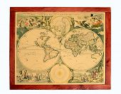 foto of yesteryear  - Old world map with frame over white - JPG