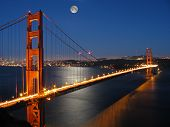 stock photo of golden gate bridge  - golden gate bridge from marin county with moon light  - JPG