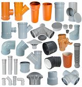 picture of thermoplastics  - many pvc draining fittings in a set isolated - JPG