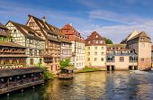Sightseeing Of France. Beautiful View Of Petite France Quarter. A Popular Attraction In Strasbourg,  poster