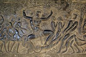 stock photo of mahabharata  - Heroes of Mahabharata on the wall Angkor wat Cambodia - JPG