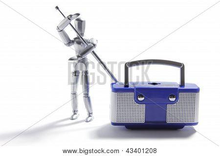 Miniature Figure And Transistor Radio