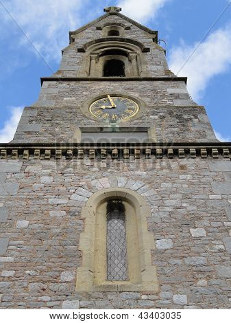Church Bell Tower With Clock