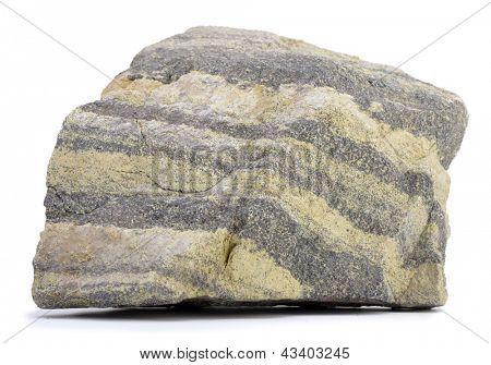 Minério de cromo cru isolado no fundo branco