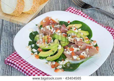 Salad With Avocado, Jamon And Spinach