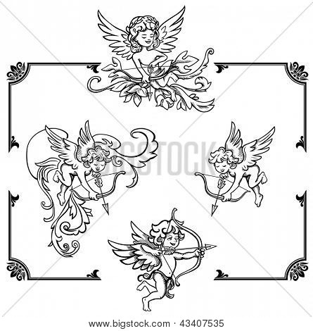Golden borders with cupids