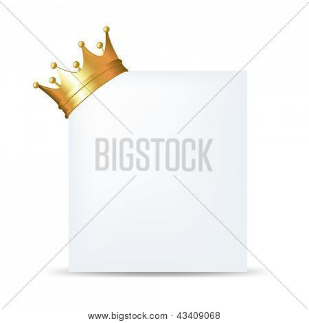 Golden Crown On Blank Card, Isolated On White Background