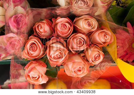 Bouquet Of Blushing Pink Roses For Sale