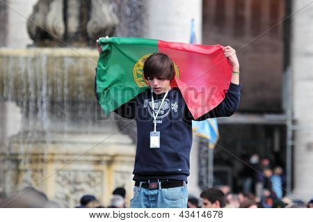 Young Portuguese Faithful Waiting For Pope Francis I