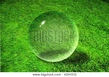 Glass Sphere On The Grass