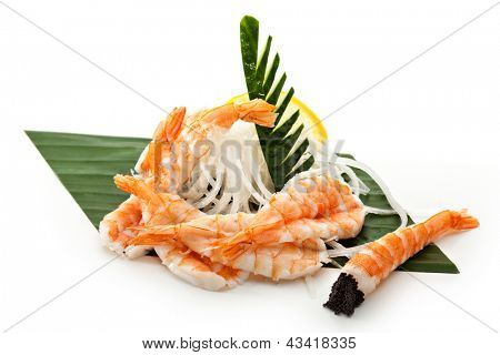 Shrimp Sashimi - Ebi (shrimp) on Daikon (White Radish)