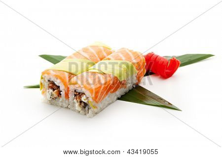 Rainbow Maki Sushi - Roll with Smoked Eel (unagi) and Cream Cheese inside. Salmon and Avocado outside