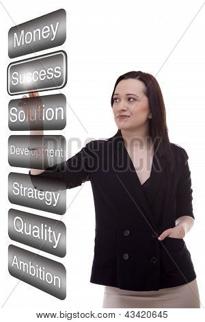 Woman Touching The Succes Virtual Button