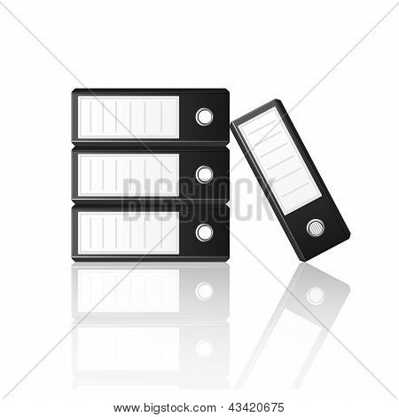 Black Binders Isolated On White Background