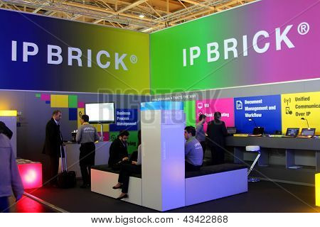 Hannover - March 9: Stand Of Ip Brick On March 9, 2013 At Cebit Computer Expo