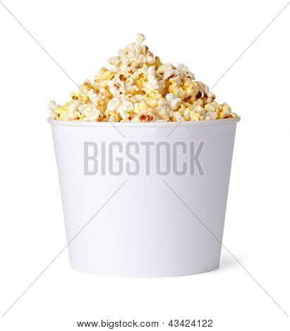Popcorn in red and yellow cardboard box on a white background