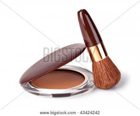 Makeup Powder and Brush on a white background