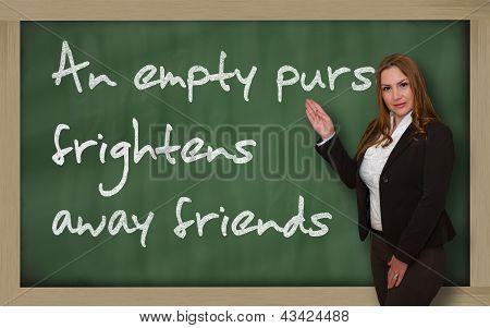 Teacher Showing An Empty Purse Frightens Away Friends On Blackboard