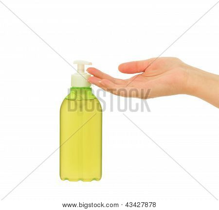 liquid soap and woman's hand