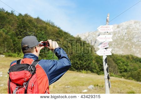 People enjoying walking in mountains