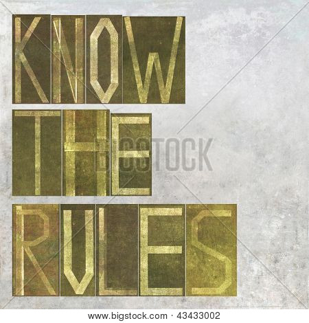 "Earthy background image and design element depicting the words ""know the rules"""