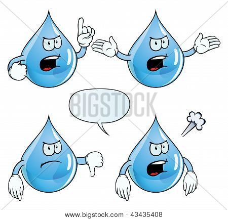 Angry water drop set