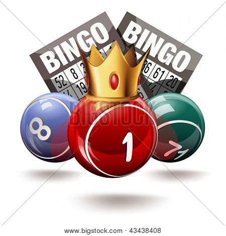 Royal bingo or lottery balls and cards