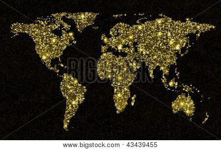 Gold glittering light world map. Sparkling world map