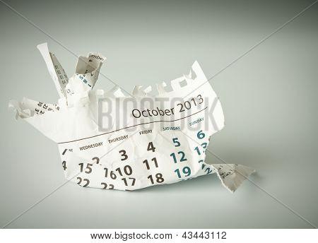 October. Crumpled Calendar Sheet