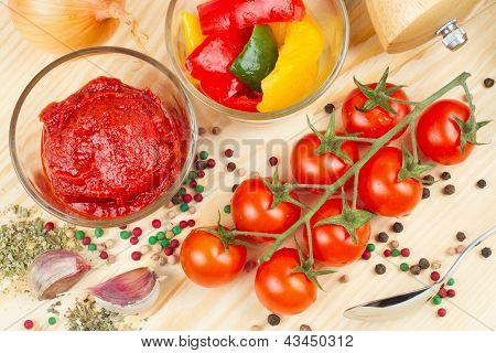 Ingredients For Making Tomato Sauce With Slices Of Bell Pepper