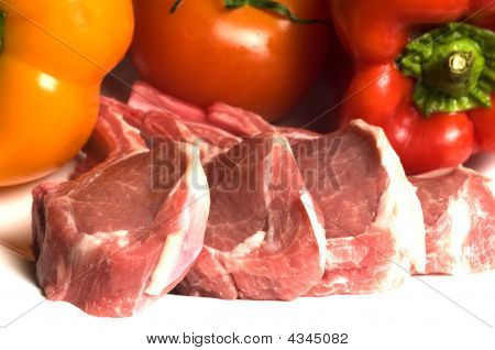 Rib Lamb Chops With Vegetables Tomato