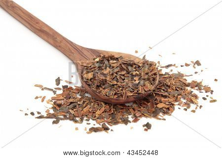 Buckthorn herb bark in an olive wood spoon over white background.