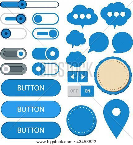 Vector illustration of blue plain web elements. Flat UI.
