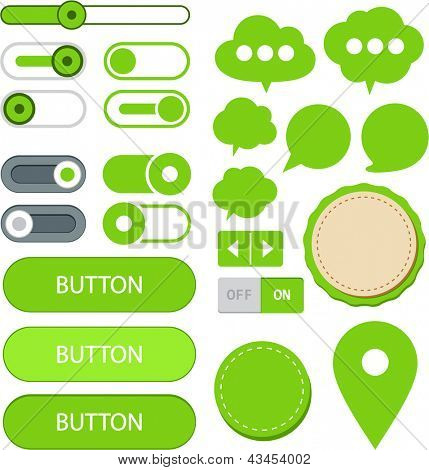 Vector illustration of green plain web elements. Flat UI.