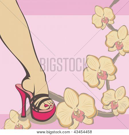 Diseño de primavera con la pedicura y orquídeas, vector