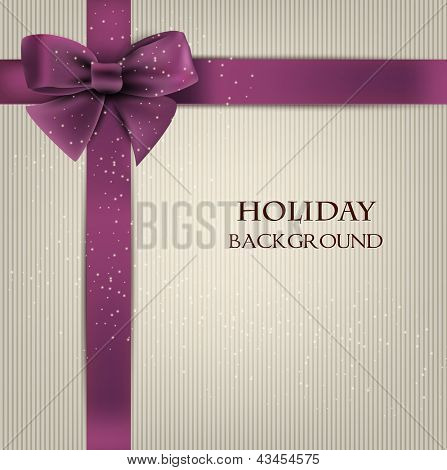 Elegant holiday background with bow and space for text. Vector illustration