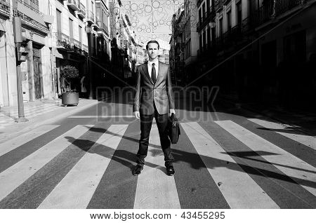 Young Handsome Businessman Standing In A Crosswalk