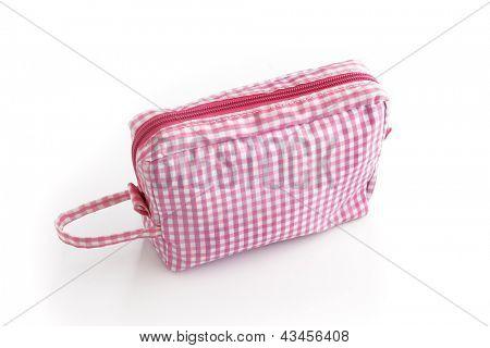 Gingham make-up bag