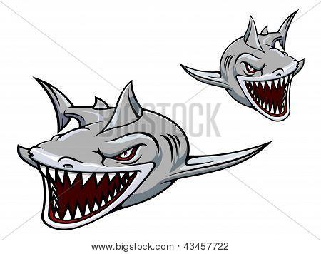 Gray shark mascot