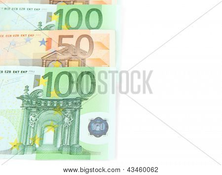 Euro banknotes isolated on a white