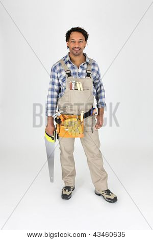 Full length carpenter with a saw